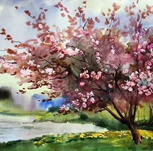 Almond tree painting