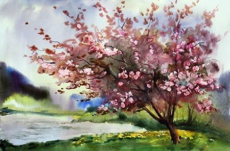 Almond tree painting