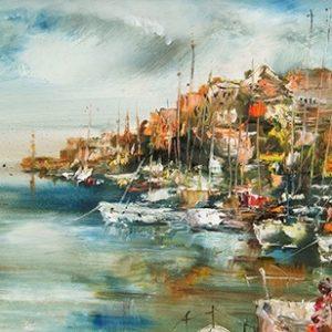 Πίνακας ζωγραφικής Boats in the harbor