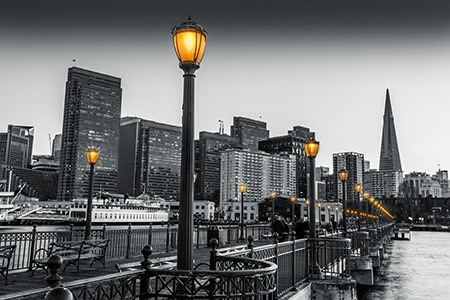 Πίνακας ζωγραφικής Black and white cityscape