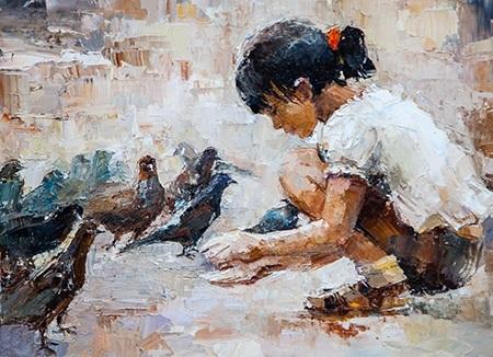 Πίνακας ζωγραφικής A girl feeding pigeons