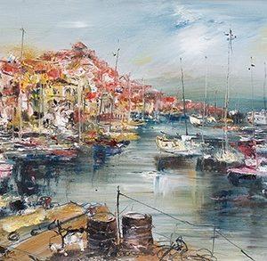 Πίνακας ζωγραφικής Boats in the harbor II