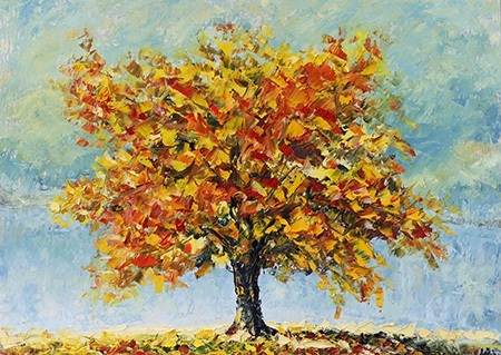 Πίνακας ζωγραφικής Red and yellow leaves