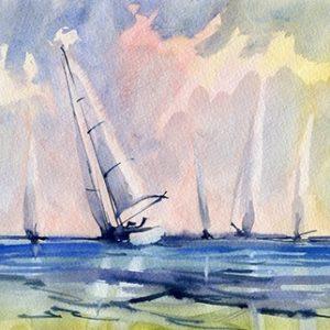 Πίνακας ζωγραφικής Watercolor sailboats