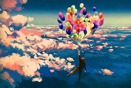Πίνακας ζωγραφικής Flying with balloons