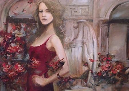 Πίνακας ζωγραφικής Woman with red dress
