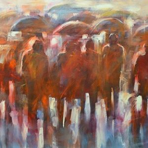 Figures with umbrellas