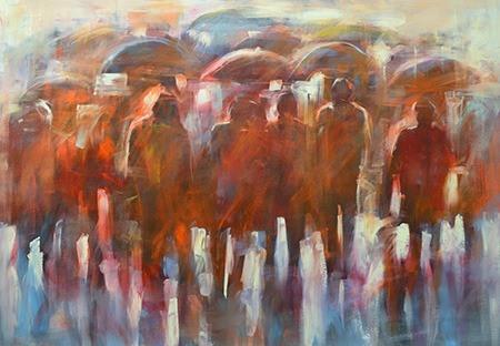 Πίνακας ζωγραφικής Figures with umbrellas