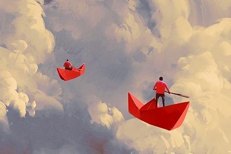 Πίνακας ζωγραφικής Paperboats in the clouds