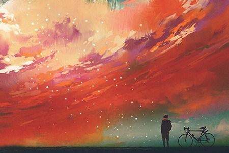 Πίνακας ζωγραφικής Starry red sky