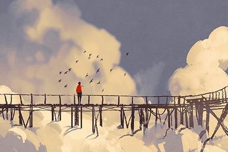 Πίνακας ζωγραφικής Bridge in the clouds