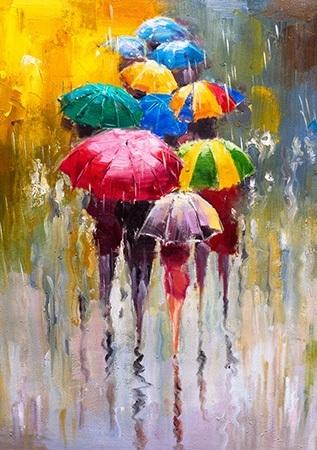 Πίνακας ζωγραφικής Colorful umbrellas