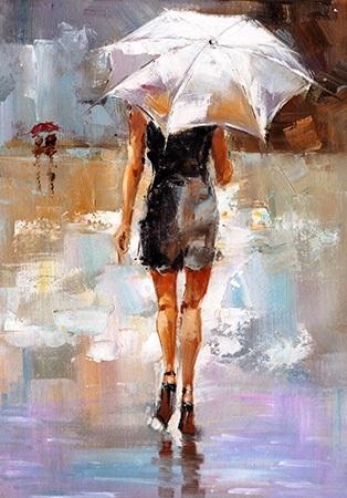 Πίνακας ζωγραφικής Woman with umbrella