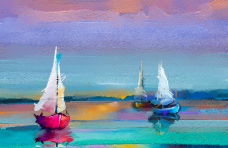 Colorful boats painting