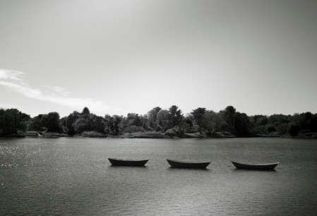 Boats in black and white
