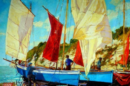 Fishboats painting