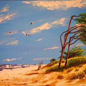Πίνακας ζωγραφικής Windy beach painting