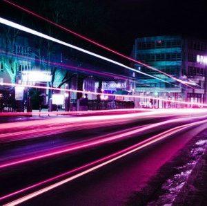Πίνακας ζωγραφικής Purple lights