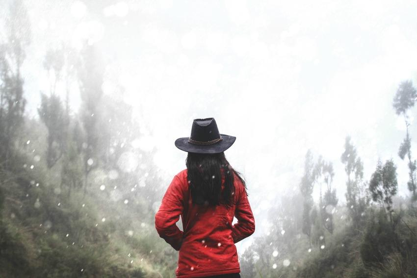 Girl with red coat